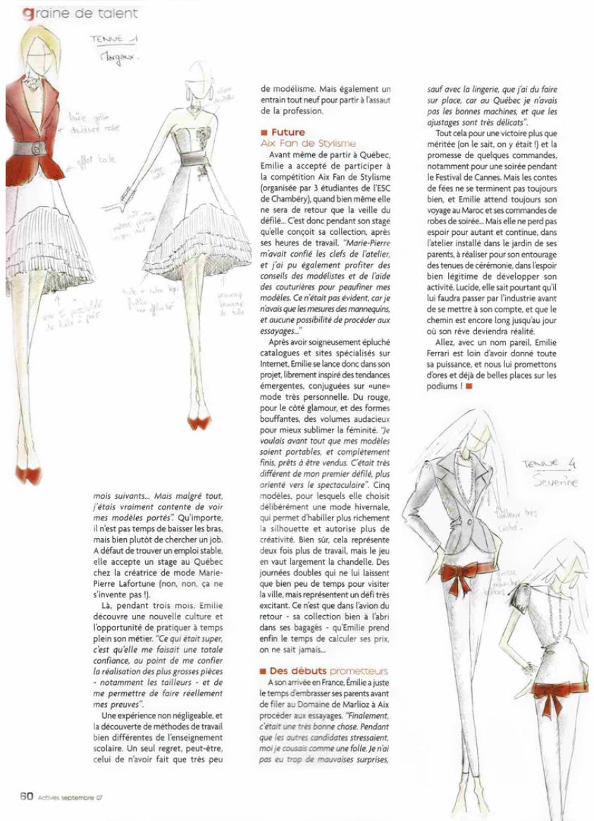 Emilie Ferrari créatrice de vêtements sur mesure